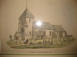 Rudgwick Church, a framed drawing to be found inside the church, probably the oldest image in existence of this 13th C Grade I listed building