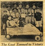 1955, Rudgwick Scouts reach semi-finals of the soapbox derby in Morecambe, driver of 'The Gnat' Ean Clarke. others were Ken Richards and Mel Reynolds (scoutmasters Messrs Matthews and Durrant)