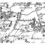 the same map as above, enlarged to show Rudgwick Street and the road to Horsham before the 1809 turnpike