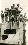 Rudgwick Scouts at Clymping beach in 1946. wartime tank traps proved irresistable!